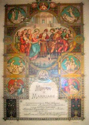 Marriage commemorative, Bernard Lingousky and Leonela Erminia Recla