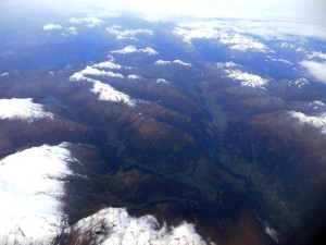 Leaving Italy - view of the Italian Alps from the air as we fly towards France.