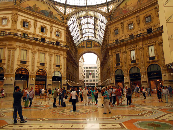 Galleria Vittorio Emanuelle II is one of oldest enclosed shopping malls in the world. Look closely between the Louis Vuitton store on the left and the Prada store on the right. Yes, that is a McDonald's!