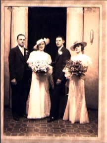 Lewis and Betty Reich on their wedding day, June 3, 1935, with their Maid-of-Honor and Best Man.