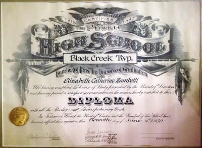 Betty Zambotti's High School Diploma