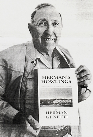 Herman Genetti with his book Herman's Howlings