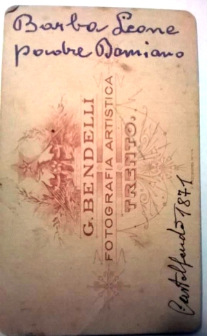 Back of Cabinet Card, dated 1871